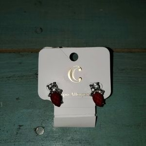New Charming Charlie Red & Clear Jewel Earrings